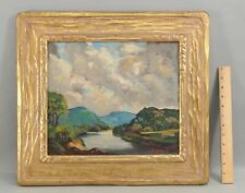 Antique HENRY BILLINGS Impressionist Landscape Painting Arts Crafts Carved Frame
