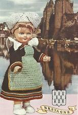 Vintage Crochet PATTERN to make Doll Clothes Dress Apron Hat Collar France Breta