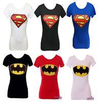 L166 LADIES WOMEN GIRL SUPERMAN BATMAN LOGO PRINTED SHORT SLEEVE T-SHIRT TOP