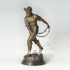 33 cm Western Art deco pure Bronze Old man men sailor seaman mariner Sculpture
