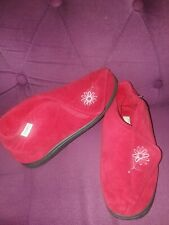 STROLLERS RED FABRIC FLEECE LINED BOOTIES SLIPPERS SIZE 7 EU 41 - VGC
