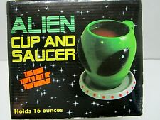 UFO ALIEN CUP & SAUCER 16 OZ MUG OUT OF THIS WORLD IN BOX UNUSED