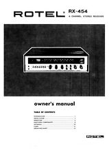 Rotel RX-454 Receiver Owners Instruction Manual