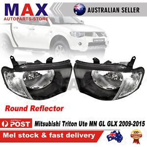 Pair Head Lights Chrome Corner for Mitsubishi Triton Ute MN 2009~2015 GL GLX