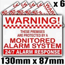 6 x Property Protected Monitored Alarm System Monitored Stickers-Security Signs