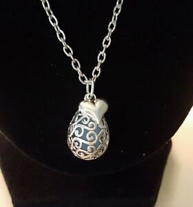 Silver Turquoise Teardrop Filigree Charm Necklace with a Small Heart-Reversible