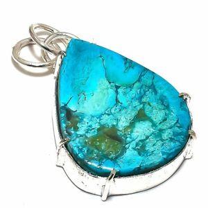 "Arizona Turquoise Gemstone Handmade 925 Sterling Silver Pendant 1.9"""