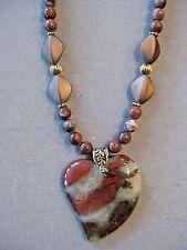 Beautiful Rust Rainbow Jasper Pendant Necklace with Jasper Beads
