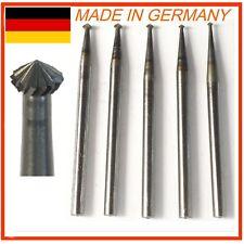 High Speed Steel Hart Bearing Burs 5pc 010~018 Black Top Germany Diamond Setting