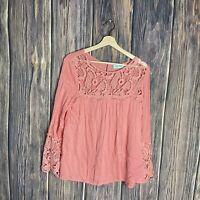 Filly Flair Top Medium Coral Crochet Long Sleeve Flare Sheer Boho Peasant Women