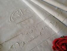 Drap ancien Broderie Richelieu Lin 290 x 205 cm Mono S-R Linge ancien 1614/115-1