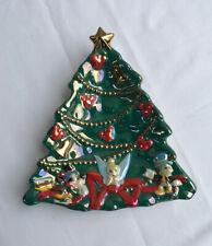 DISNEY CERAMIC CHRISTMAS TREE DISH w/MICKEY, TINKER BELL, JIMINY CRICKET - NEW!
