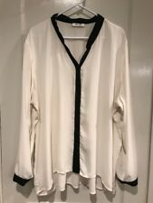 Dress Barn 2X 18 20 White Black Trim Career Top Blouse Long Sleeve