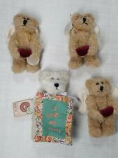 "New ListingLot of 4 Boyds Bears Ornaments 5"" Angel Bear Jointed Plush - 6.5"" Mom Christmas"