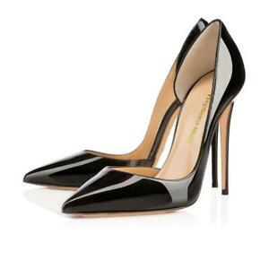 Womens Ladies Pointed Toe High Heels Plus Size Stilettos Leather Dress Pumps