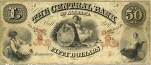 Alabama Central Bank $50 Dollars Obsolete Currency Banknote 1858
