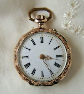 Swiss Antique Sterling Silver Ladies Small Pocket Watch ( Works )