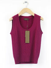 BNWT Pure Womens Raspberry Cashmere Mix Cable Knit Tank Size 8