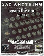 SAY ANYTHING /SAVES THE DAY /VALENCIA 2010 SEATTLE CONCERT POSTER-Alt Rock Music