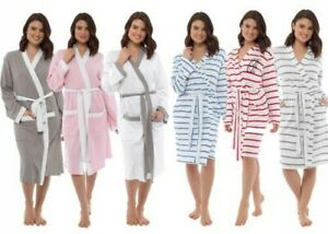 Femmes Léger Robe de Chambre Coton Été Gaufre Ou Jersey Enveloppant Kimono Robe