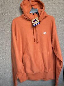 "New L Champion Reverse Weave Orange Oversized Mini C  Hoodie 26"" Armpit L/XL"