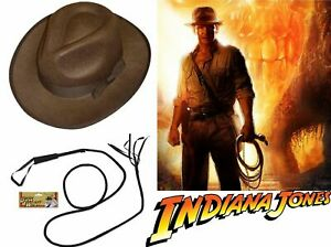 Indiana Jones Explorer Hat and Bull Whip Mens Fancy Dress Costume Outfit