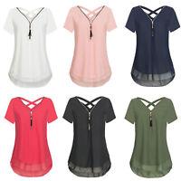 Women Zipper V Neck Chiffon Short Sleeve Shirts Loose Blouse Casual Tops T-Shirt