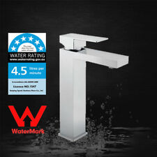 Chrome WELS WaterMark Square Bathroom Brass Basin Mixer Tap Deck Mount  Faucet
