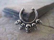 Silver IP Non-Piercing Skulls Septum Hanger Clip-On Fake Faux Nose Ring