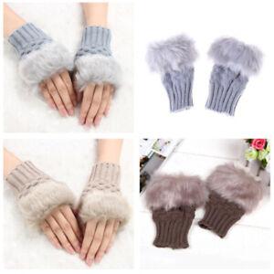 Women's Fingerless Fluffy Gloves Winter Warm *NEW*