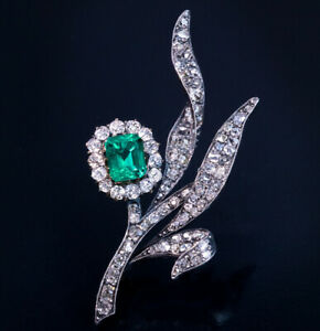 Antique Colombian Emerald and Diamond Flower Brooch Pin in 14K White Gold Over