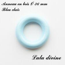 Anneau en bois de 36 mm (XS) sans trou, pour hochet bébé : Bleu clair