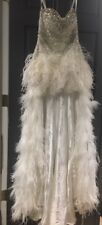 Sherri Hill 3853 High Low Feather 2014 Ivory White Prom Dress Sequined Size 6