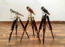 SET OF 3 Vintage Marine Scope Spyglass Telescope With Tripod Nautical Decorative
