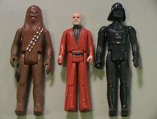 Star Wars VINTAGE 1977 Lot of 3 Obi-Wan/Vader/Chewie Incomplete Loose C-5 Kenner