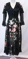 ASOS Women's Flute Sleeve Embroidered Wrap Maxi Dress KB8 Black US:0 UK:4 NWT