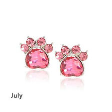 Ohrstecker Ohrring Hundepfote silberfarbiges Metall Zirkonia pink Monat Juli