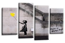 Banksy Girl With Yellow Balloon Canvas Picture Grey White Split Wall Art