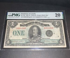 PMG Dominion of Canada $1 Banknote 1923 Series D Group 3 Black Seal VF 20