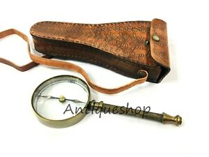 Maritime Antique Brass Magnifying Glass Magnifier With Antique Leather Case