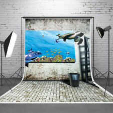 3D Effect Dolphin Fishes Photography Backdrop Background Studio Photo Prop 5x7ft