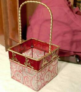 Handmade Christmas Bronze Wire Basket Reindeer Decoration Gift Candy Cookies Red