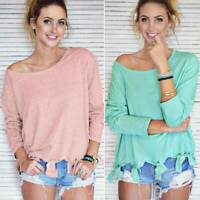 Womens Long Sleeve T-Shirt Casual Loose Blouse Ladies Basic Tee Tops Plain Tunic