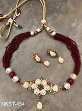 Latest Design Indian Rajasthani Bollywood Jadau Ruby Green Pearl Choker Necklace