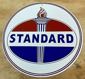"Standard Oil Co Aluminum Metal Sign 12"" Gasoline Gas Station"