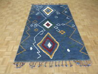 5 x 8'3 Hand Knotted Blue Moroccan Wool Oriental Rug G6261