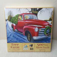 Tree Farm Chevy Truck Dogs Christmas Tree 500 Piece Jigsaw Puzzle Sealed 18 x 24