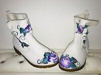 Boots STIEFEL 40 unikat designer Weiß Blumen Flower Shabby Chic White Hippie Goa