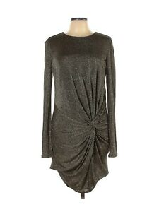 TED BAKER LADIES GOLD METALLIC PARTY DRESS 10