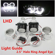 "2.5"" Halo Bi-Xenon HID Projector Car Headlight H1/H4/H7 w/ Light Guide Angel Eye"